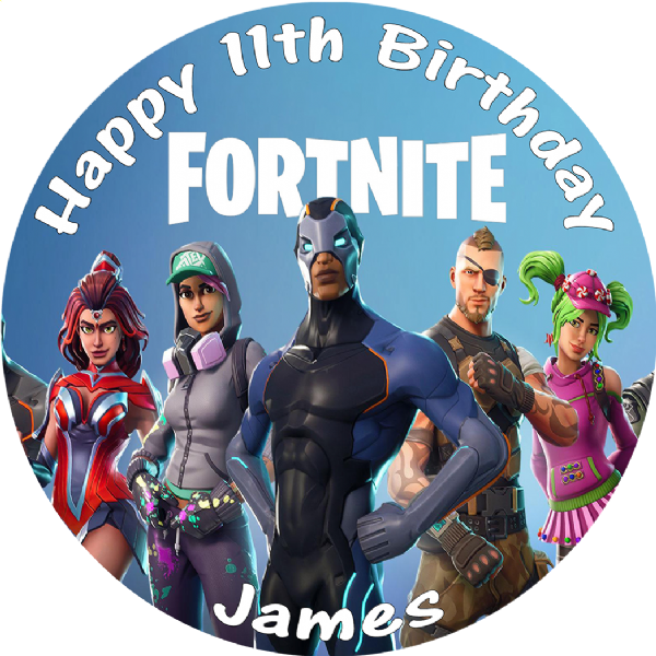 FORTNITE SEASON 7 ROUND PERSONALISED BIRTHDAY CAKE EDIBLE TOPPER
